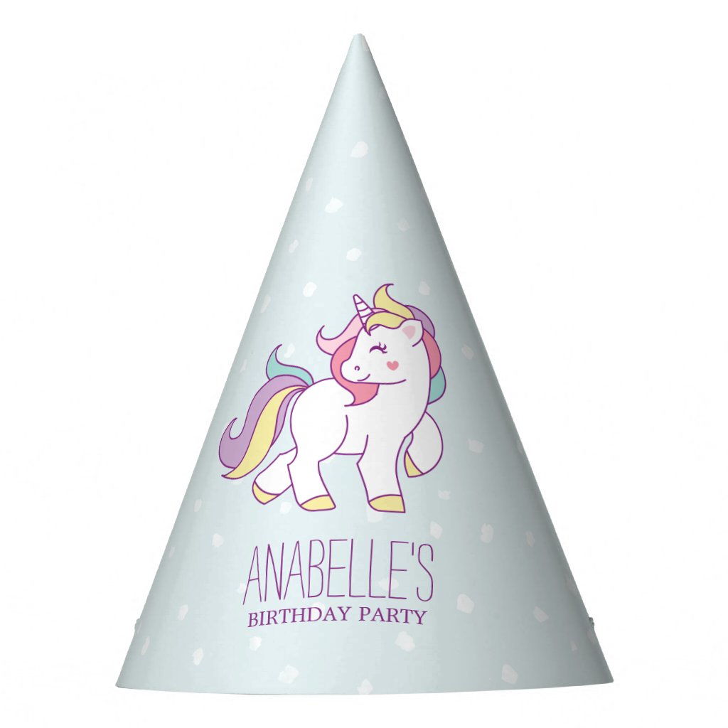 Rainbow Unicorn Girls Birthday Party Party Hat