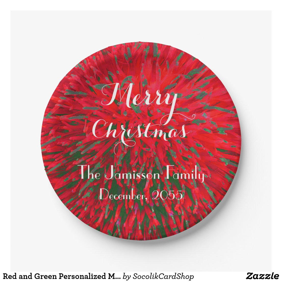 Red and Green Personalised Merry Christmas Party Paper Plate