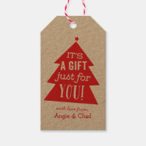 Red Christmas Tree Gift Pack Of Gift Tags