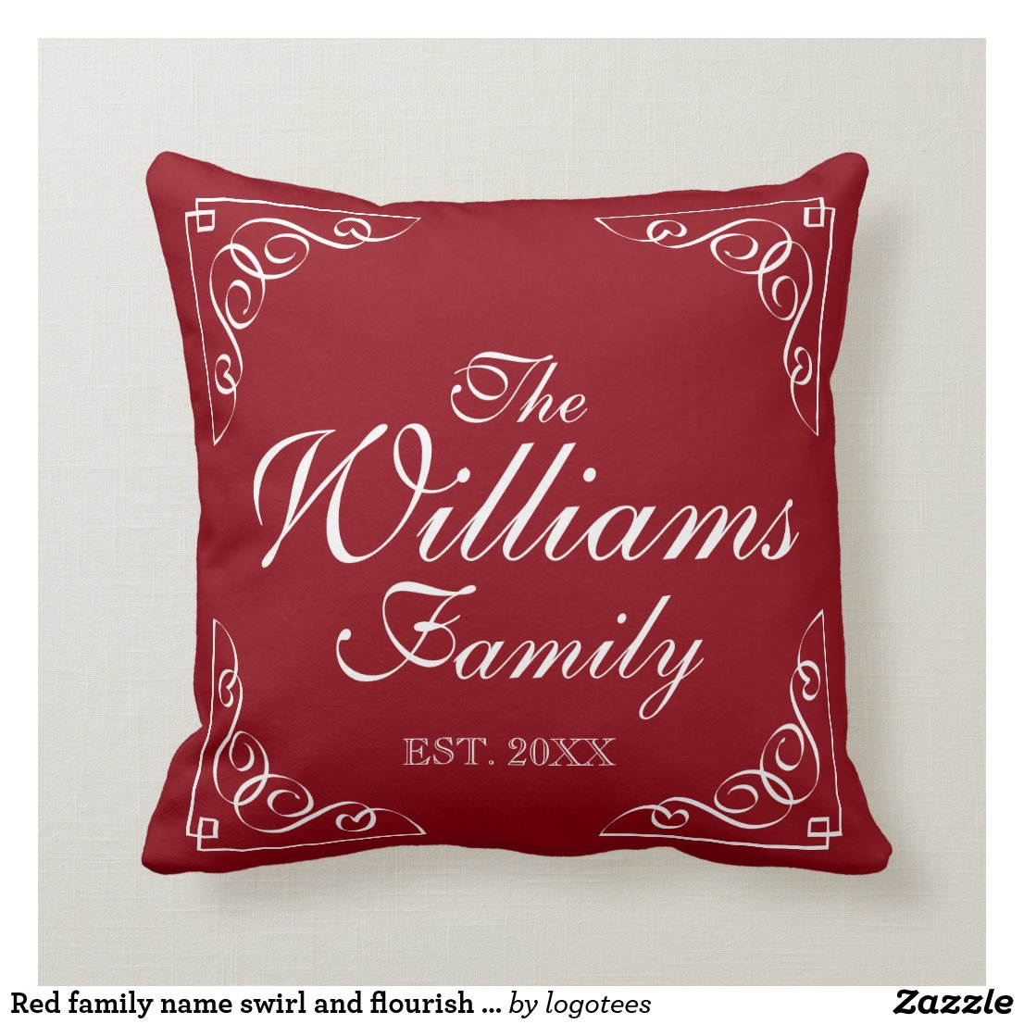 Red family name swirl and flourish throw pillows