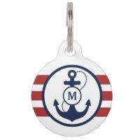 Red Nautical Monogram Pet Name Tag