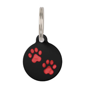 Red Paw Print Custom Pet Tag