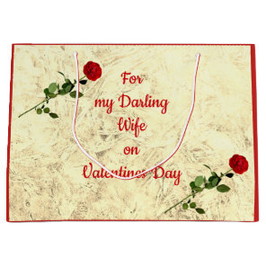 Red Rose Darling Wife on Valentines Day Large Gift Bag