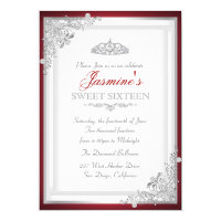 Red Silver Damask & Tiara Sweet 16 Invitation