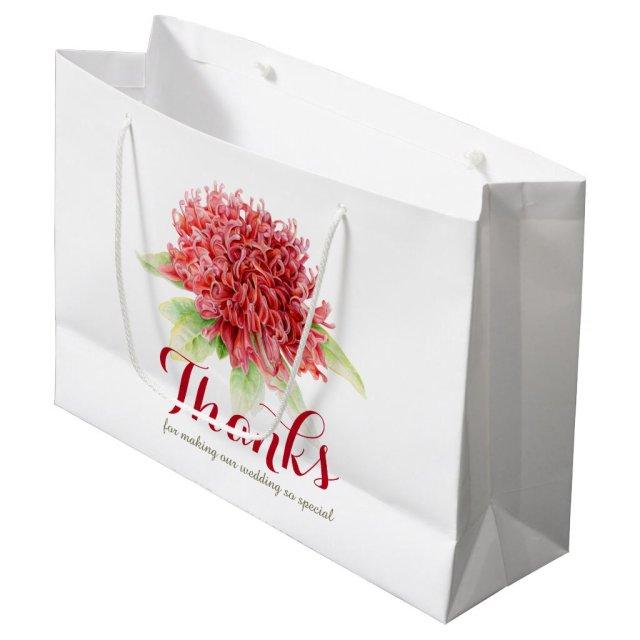 Red waratah flower art thank you wedding bags