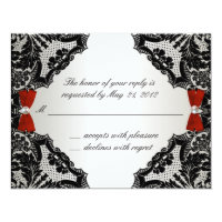 Red, white and Black lace Wedding RSVP Card