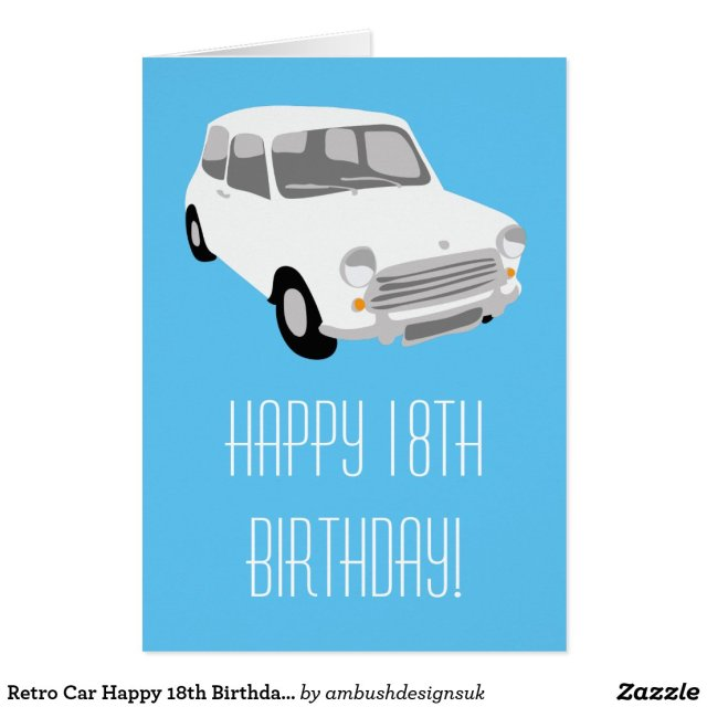 Retro Car Happy 18th Birthday Card
