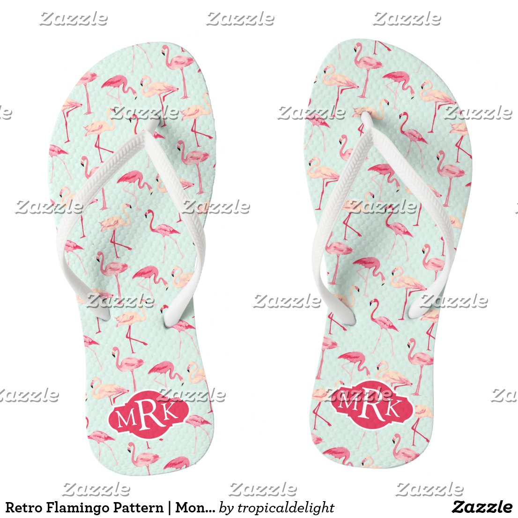 Flamingo Pattern Flip Flops
