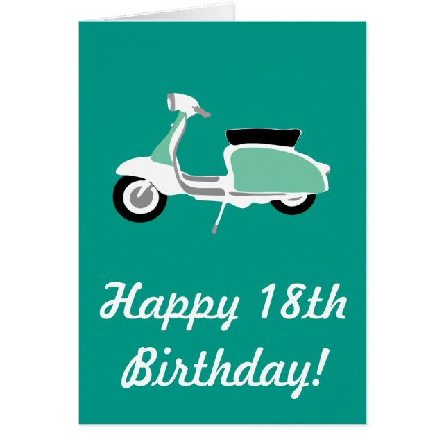 Retro Scooter Happy 18th Birthday Card