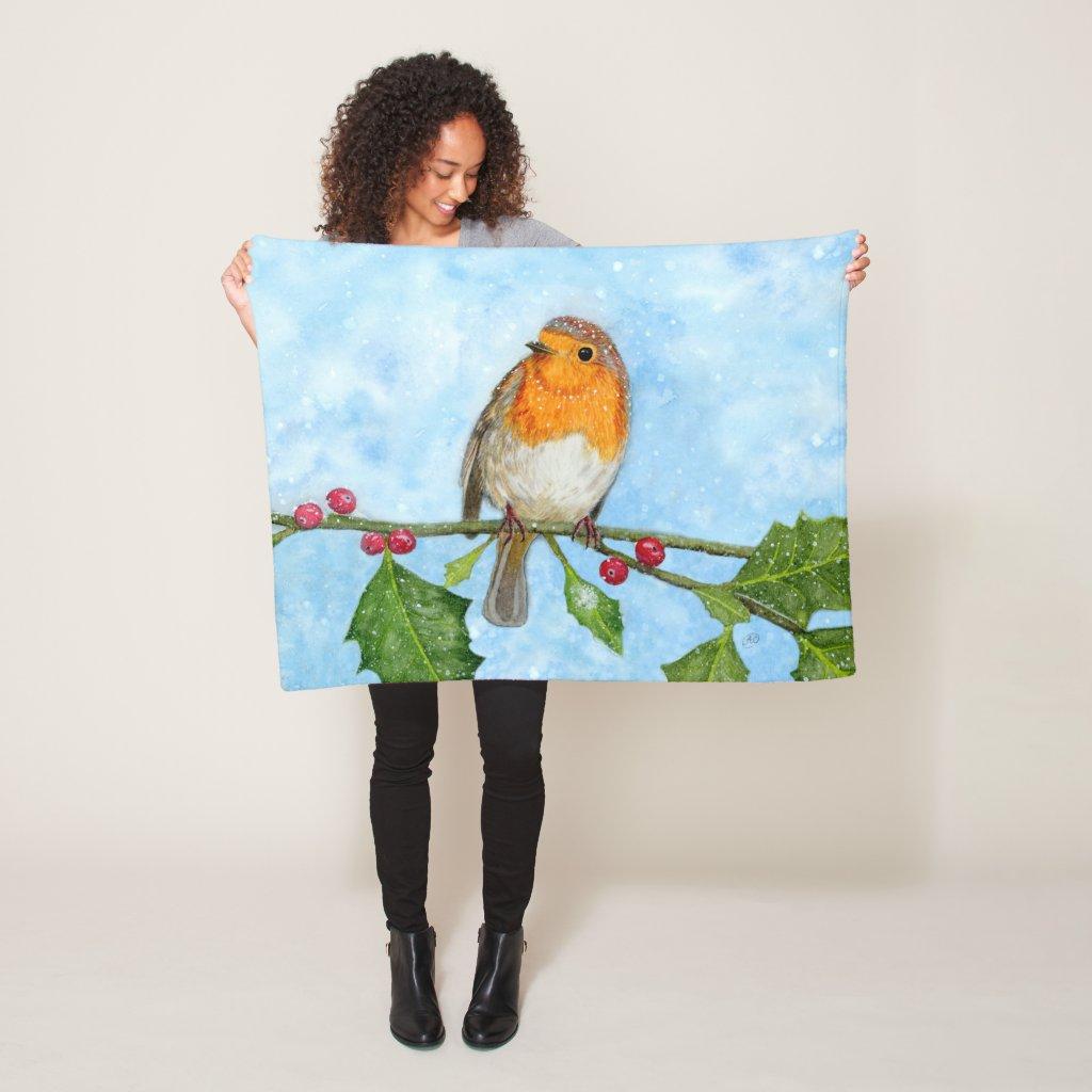 Robin Red Breast Watercolour Fleece Blanket