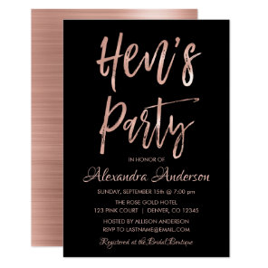 Rose Gold - Blush Pink Hen's Party Invitation