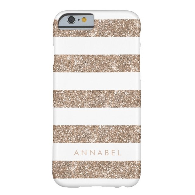 Rose Gold Faux Glitter & White iPhone Case