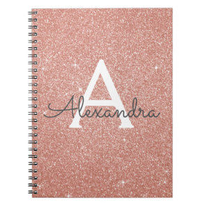 Rose Gold Foil Glitter Sparkle Monogram Notebook
