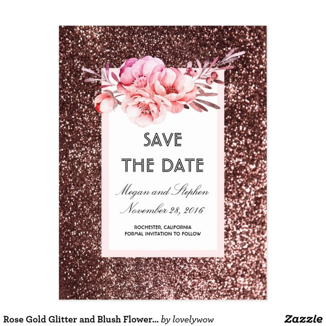 Rose Gold Glitter and Blush Flowers Save the Date Postcard