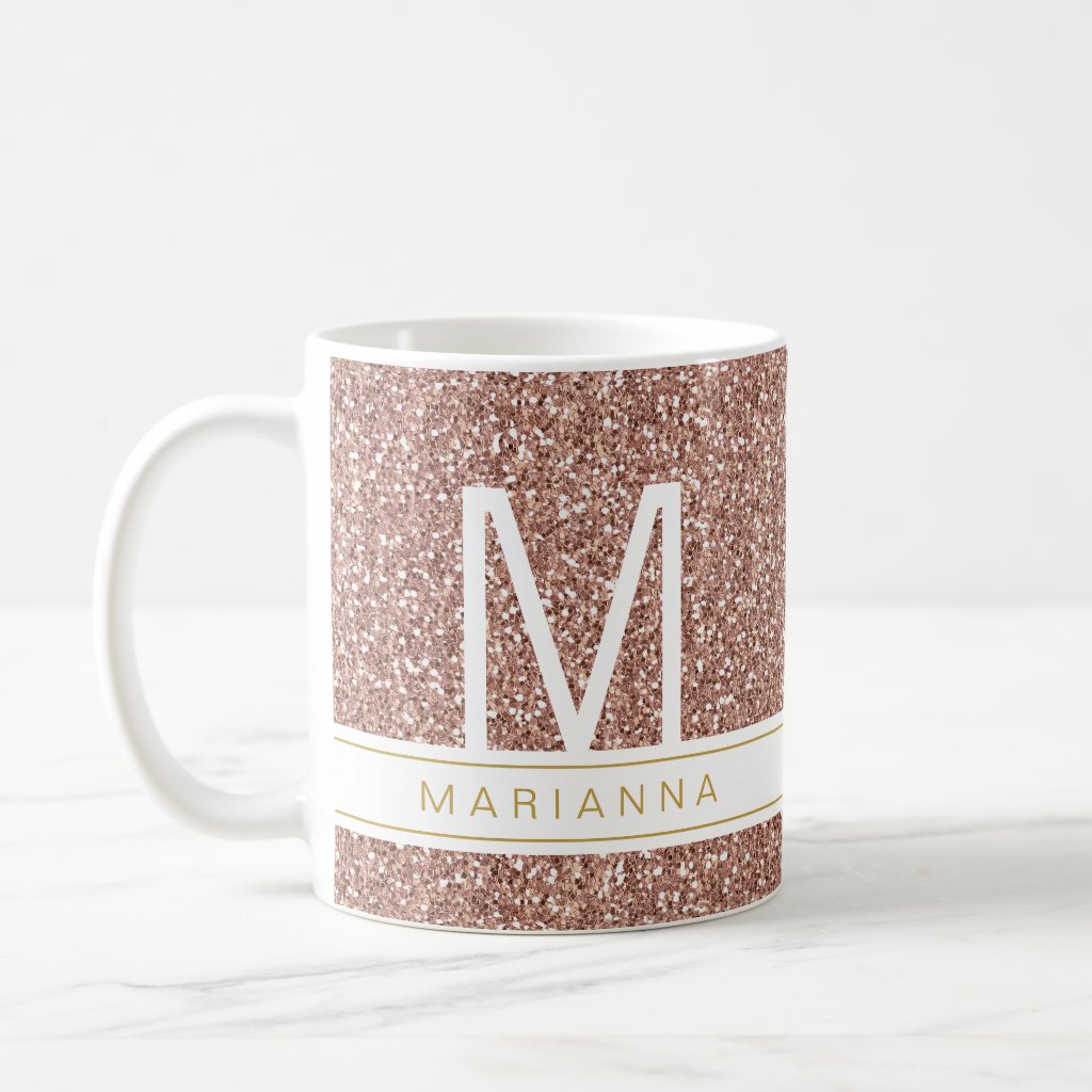 Rose Gold Glitter Pink Girly Monogram Custom Name Coffee Mug