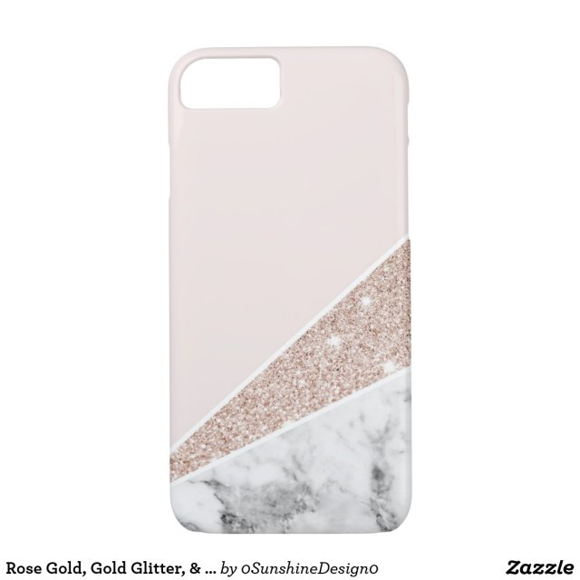 Rose Gold, Gold Glitter & Marble iPhone Case