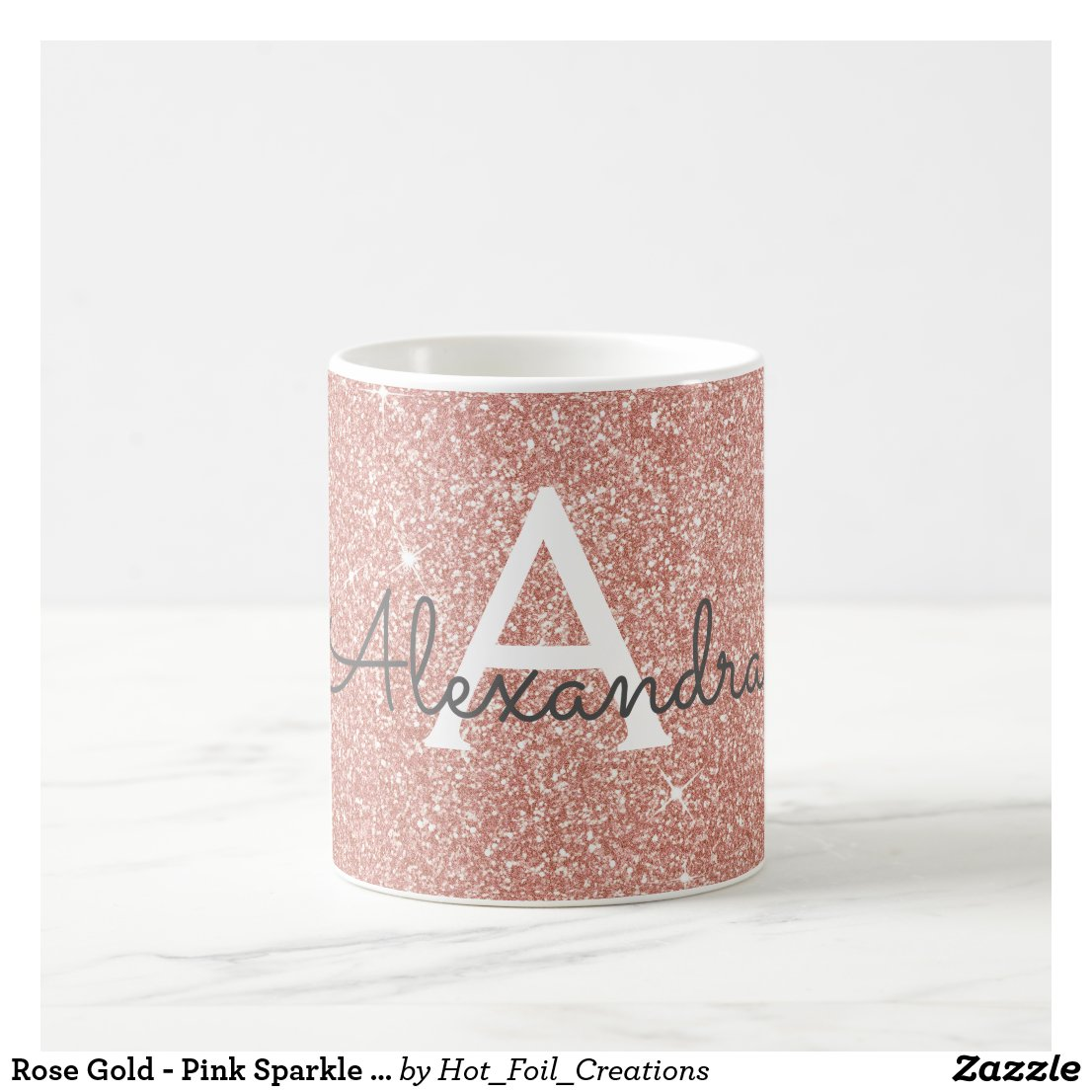 Rose Gold Sparkle Glitter Monogram Name & Initial Coffee Mug
