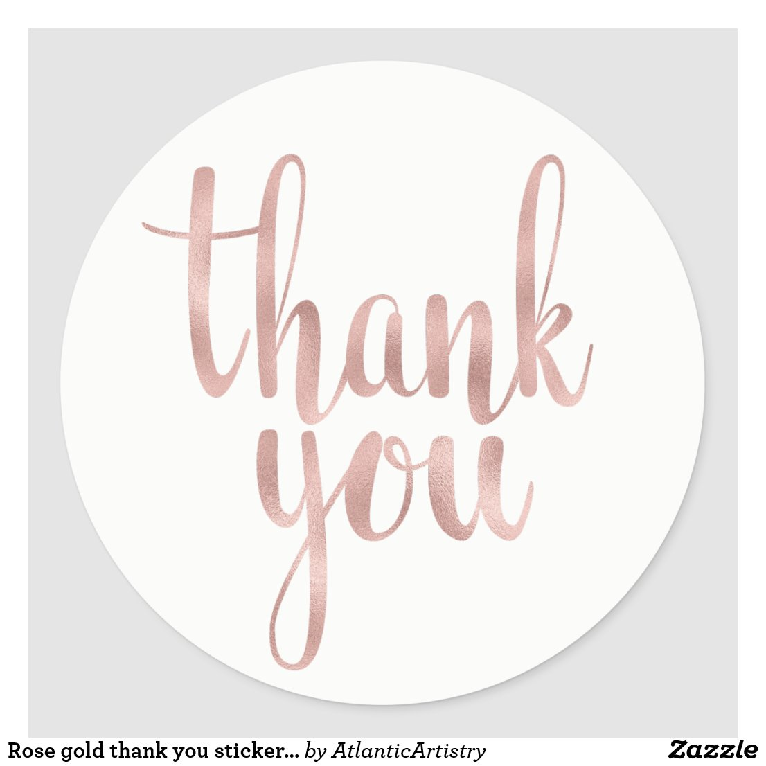 Rose gold thank you stickers, foil, round