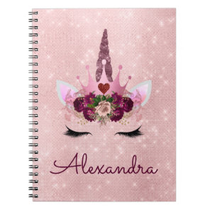 Rose Gold Unicorn Sparkle Princess Monogram Name Notebook