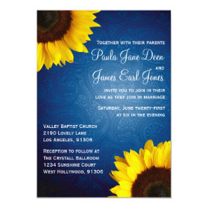 Royal Blue & Sunflower Wedding Invitation