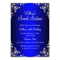 Royal Blue Sweet 16 Silver Pearl Damask Card