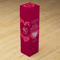 Ruby wedding anniversary heart photo wine box