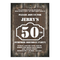 Rustic Birthday Surprise Party Invitation for Man