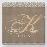 Rustic Burlap Lace Monogram Wedding Stone Coaster