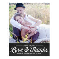 RUSTIC CHALKBOARD | WEDDING THANK YOU POSTCARD