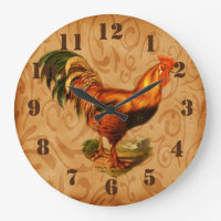 Rustic Country Rooster Clock