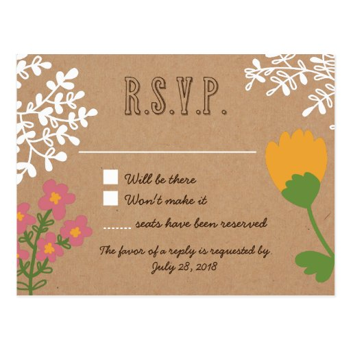 Rustic Mason Jar with Flowers on Craft Paper RSVP