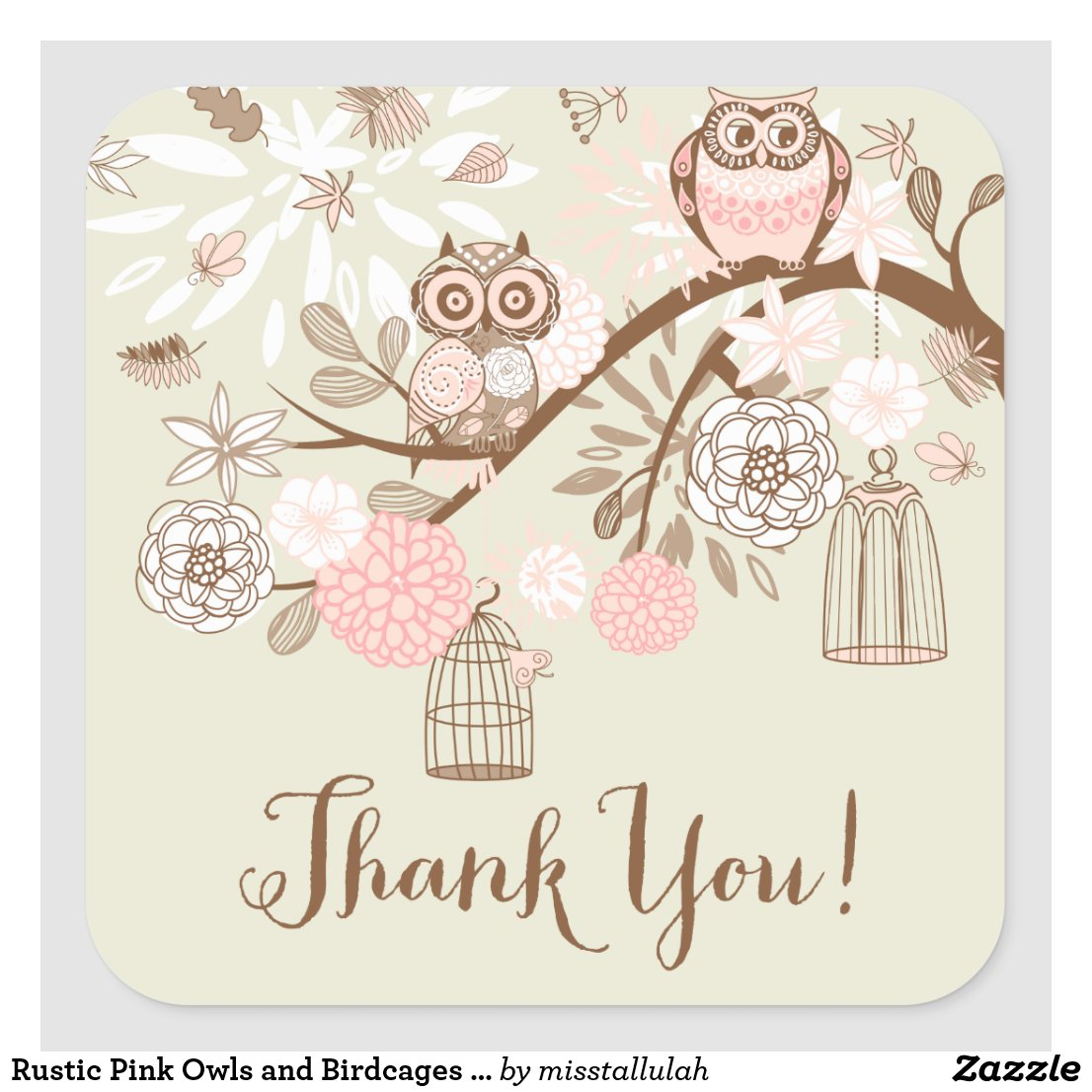 Owls and Birdcages Thank You Sticker