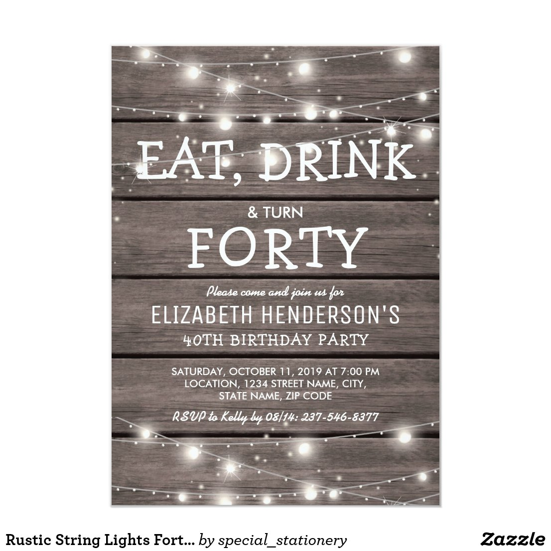 Rustic String Lights Forty Birthday Party   40th Card