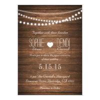 Rustic String of Lights Wedding Invitation