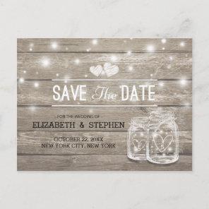 Save The Date Rustic Wood Mason Jar String Lights Announcement Postcard