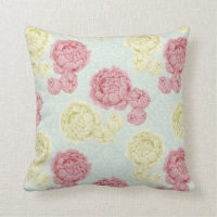 Shabby Chic Vintage Floral and Lace Throw Cushion