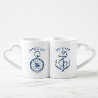 She's My Compass, He's My Anchor Couples' Coffee Mug Set