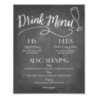 Drink Menu Wedding Poster