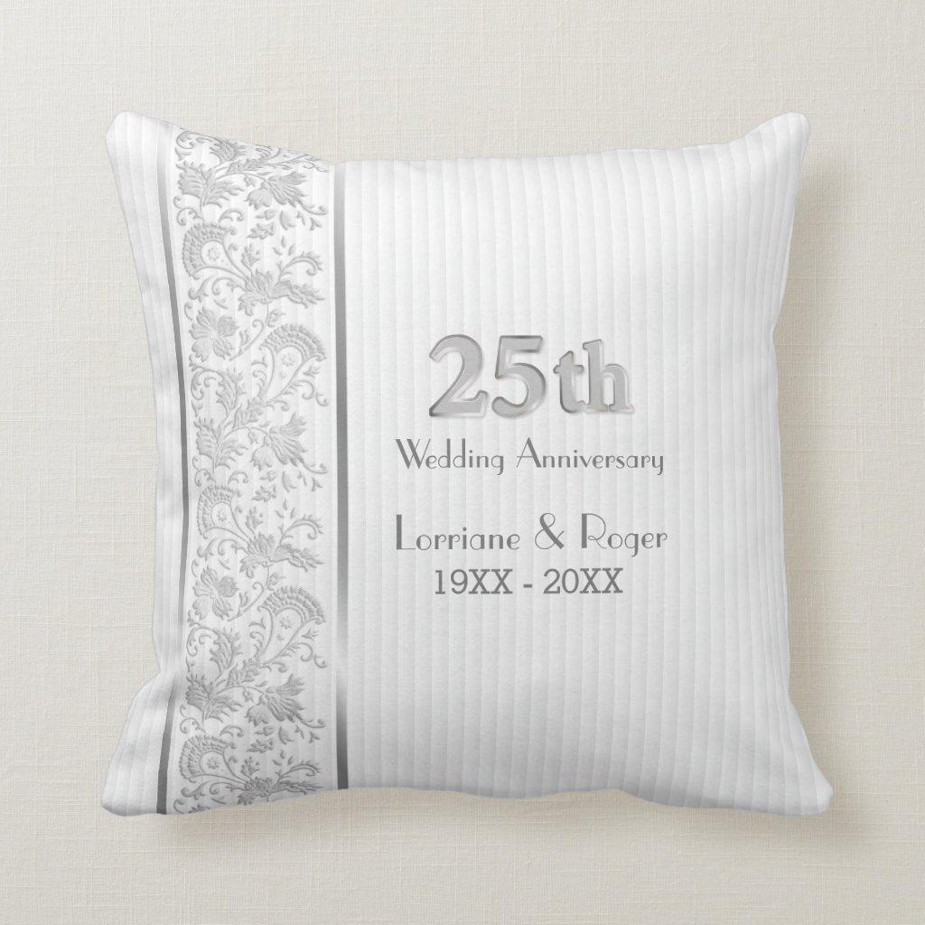 Silver Floral Elegance 25th Wedding Anniversary Cushion