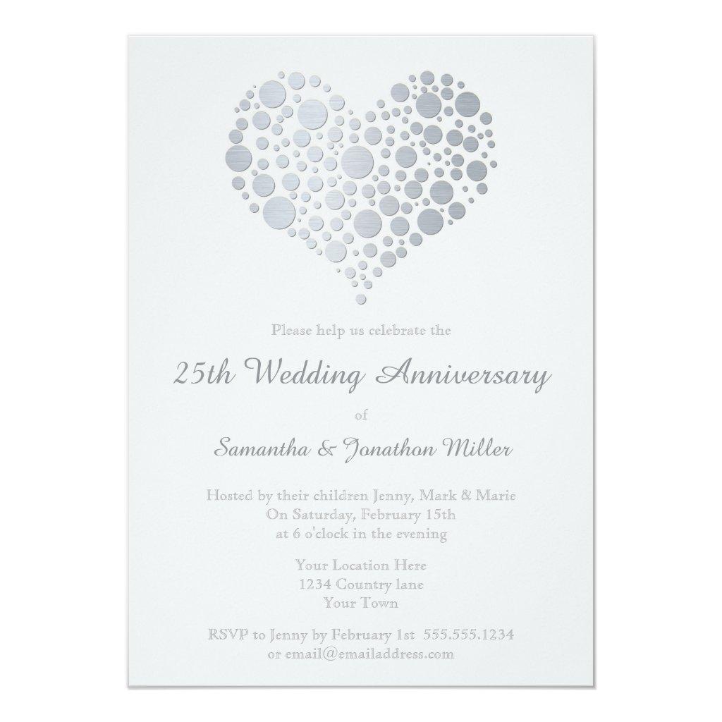 Silver Heart Faux Foil 25th Wedding Anniversary Card