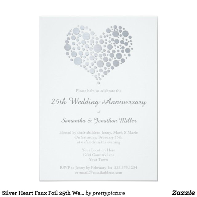 Silver Heart Faux Foil 25th Wedding Anniversary Card