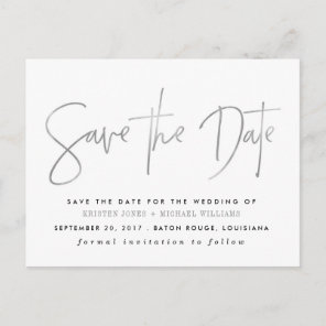 Silver Modern Save the Date Announcement Postcard