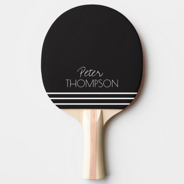 simple & stylish monogram on black ping pong paddle