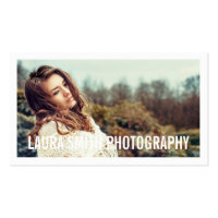 Simple white modern photographer business minimal business card