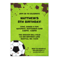 Soccer Ball Mud Birthday Party Invitations