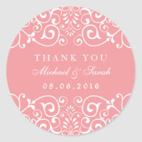 Soft Pink Swirl Flower Bridal Shower Favor Sticker