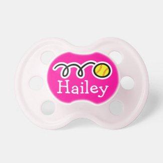 Softball baby girl pacifier
