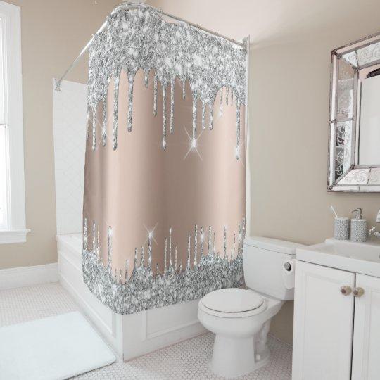 spark drips glitter effect rose silver grey shower curtain