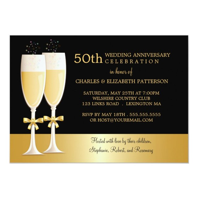 Sparkling Champagne 50th Wedding Anniversary Party