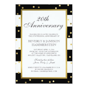 Sparkling Stripes | 20th Wedding Anniversary Party Card